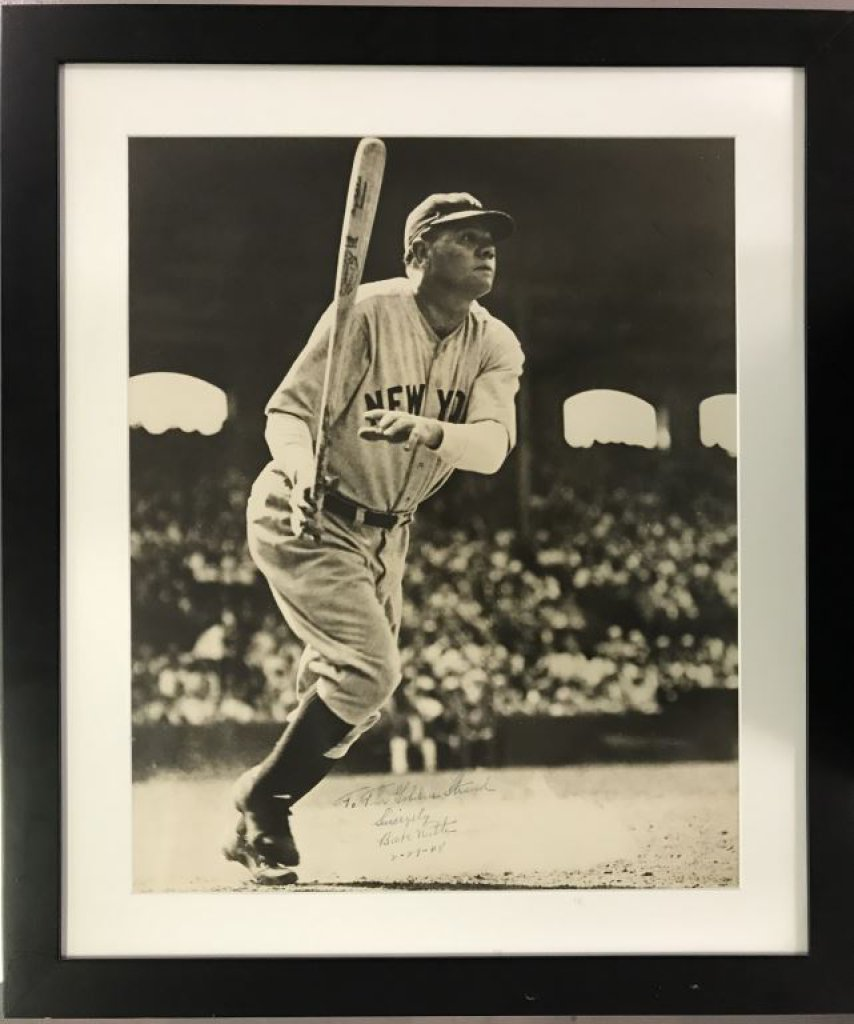 Spectacular Signed and Inscribed Babe Ruth Photo.