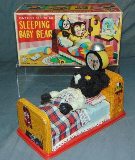 Linemar Battery Operated Sleeping Baby Bear.