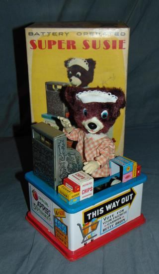 Tin Super Susie Cashier Bear Battery-Operated Toy