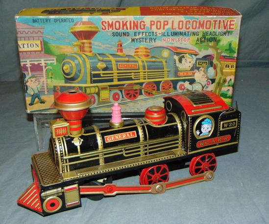 Boxed Battery Operated Smoking Pop Locomotive