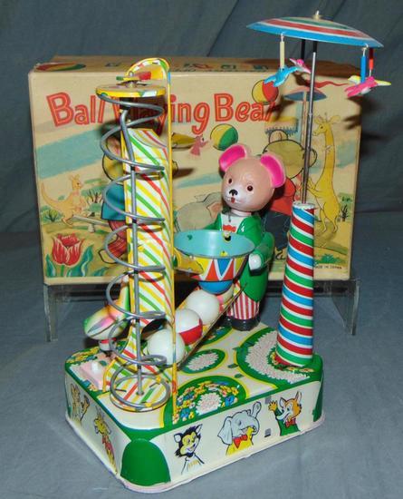 Tin Litho Ball Playing Bear. B.Op. With Box.