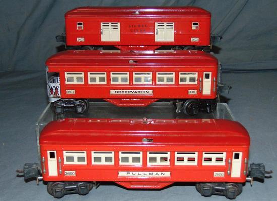 3 Clean Late Lionel 2600 Passenger Cars