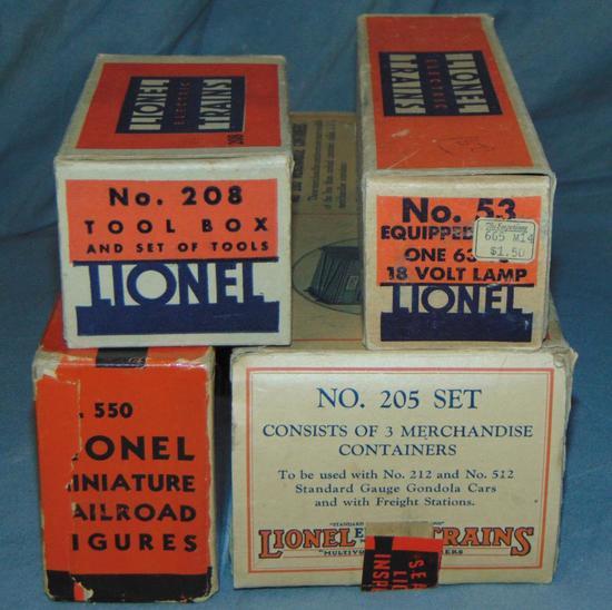 4 EMPTY Lionel Accessory Boxes