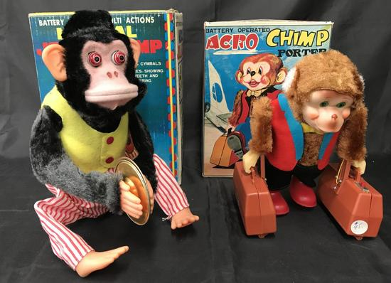Lot of 2 Boxed Battery Operated Chimp Toys