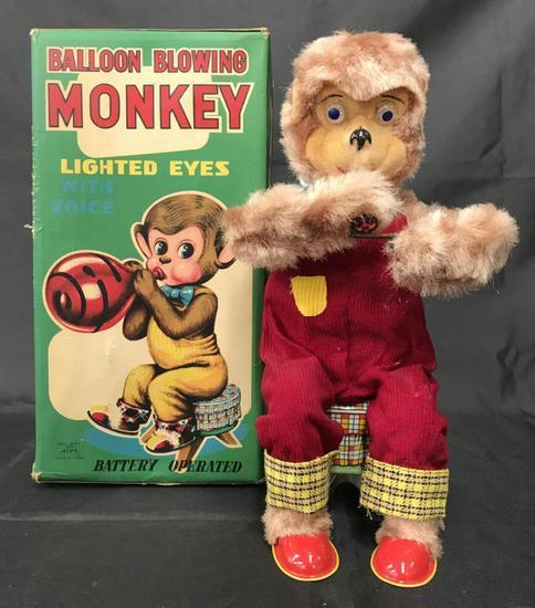 Balloon Blowing Monkey. Boxed.