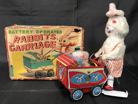 Boxed Battery Op Rabbits and Carriage