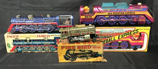 Lot of Three Battery Operated Locomotives Boxed.