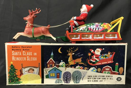 Tin Litho Battery Operated Santa Sleigh Boxed.
