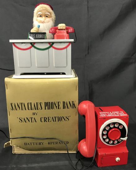 Boxed Battery Operated Santa Claus Phone Bank.