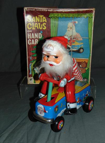 Boxed Battery Operated Santa on Hand Car