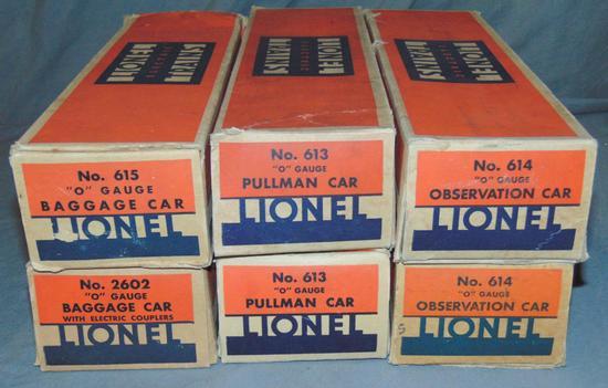 6 EMPTY Lionel Passenger Car Boxes