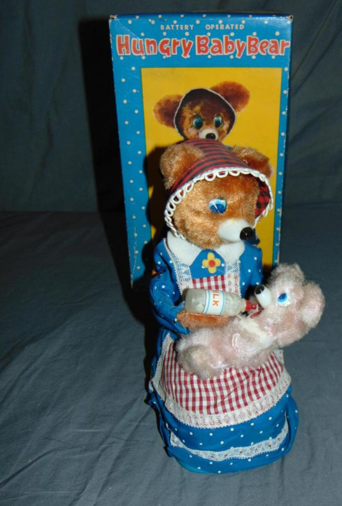 Battery Operated Hungry Baby Bear Boxed.