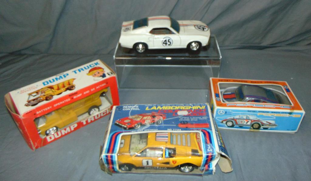 Lot of 4 Battery Operated Toy Vehicles, Some Boxed