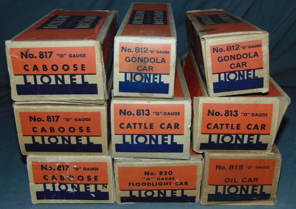 9 EMPTY Late Lionel 800 Series Car Boxes