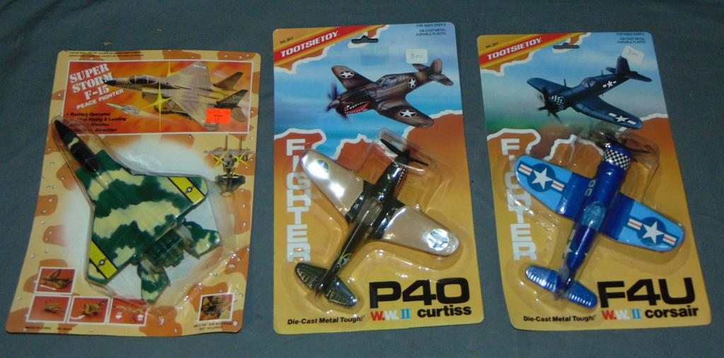 3 Mint on Card Toy Airplanes incl. Tootsietoy