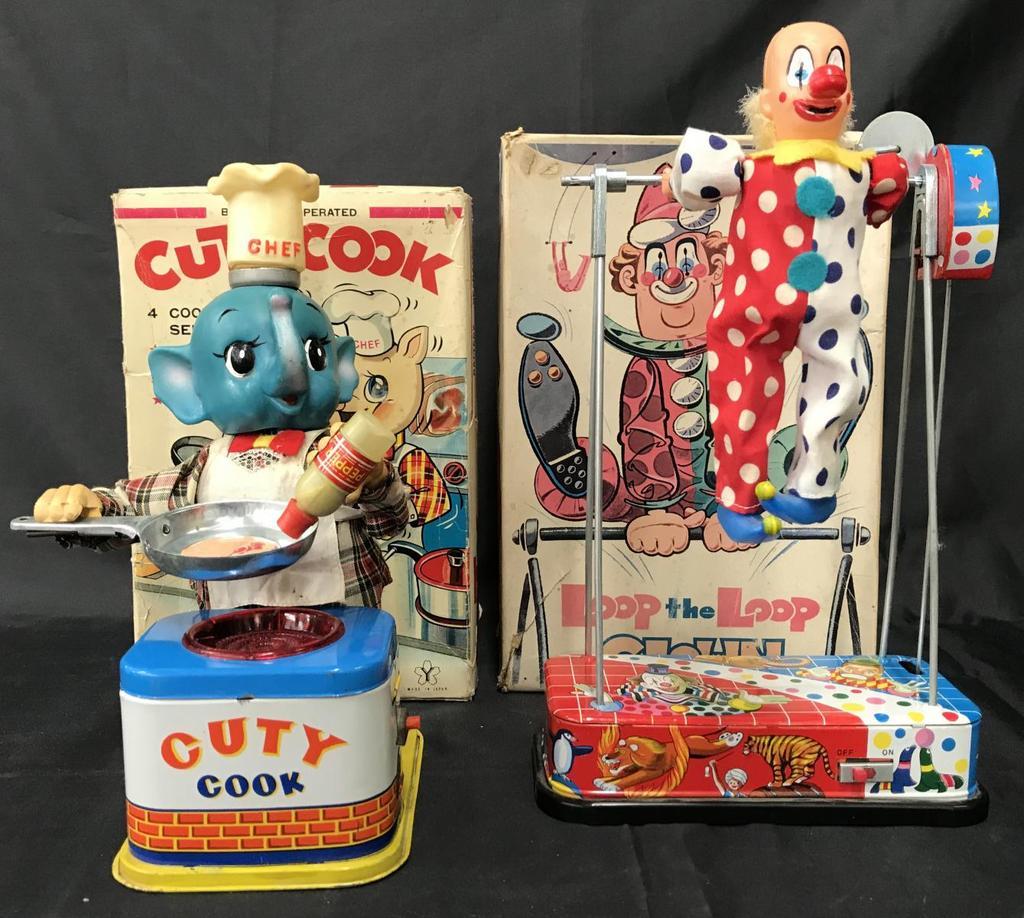 2 Boxed Battery Op Toys, Cuty Cook & Loop Clown