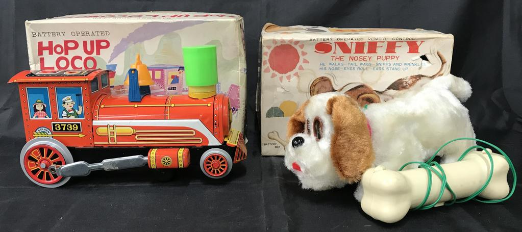 2 Boxed Battery Op Toys, Sniffy & Hop Up Loco