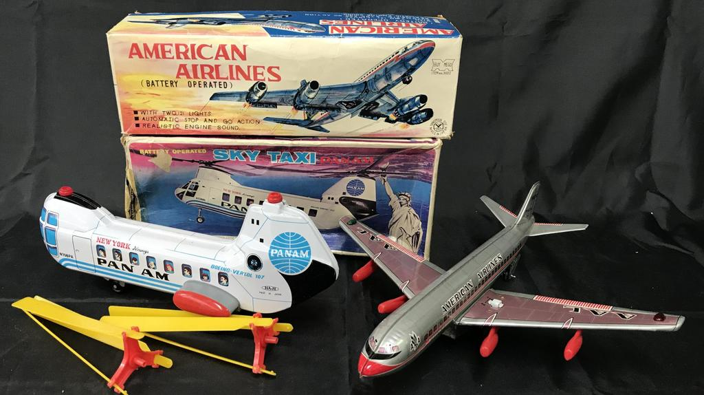 Boxed Battery Op Pan Am Sky Taxi & AA Plane