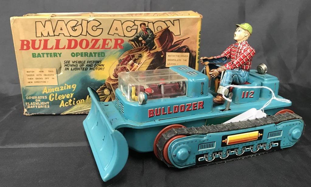Boxed Battery Op Magic Action Bulldozer