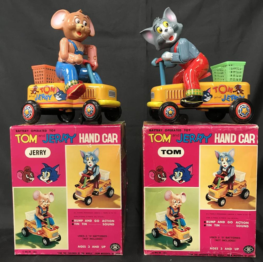 (2) Boxed Battery Operated Tom & Jerry Hand Cars
