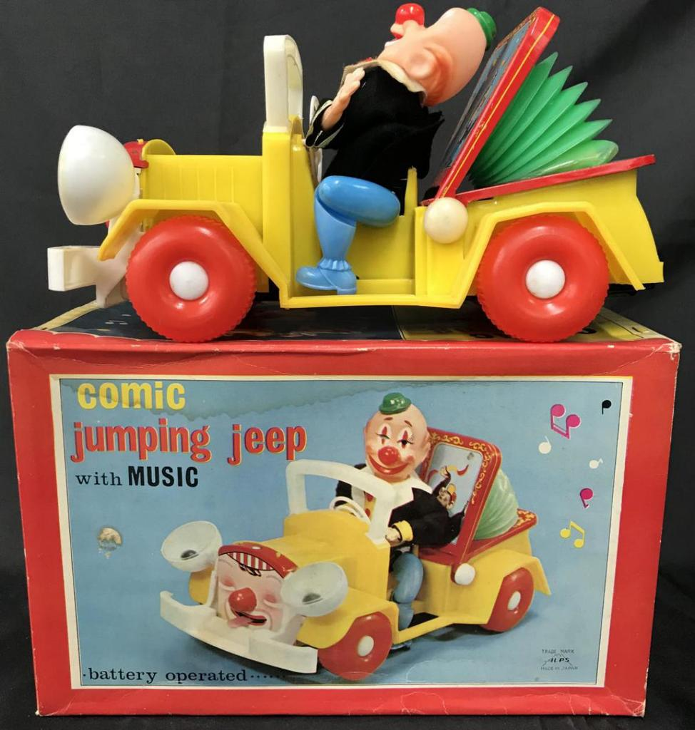 Battery Operated Comic Jumping Jeep.