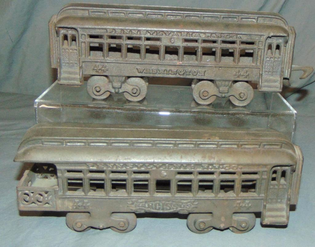 2 Hubley Cast Iron Floor Train Coaches