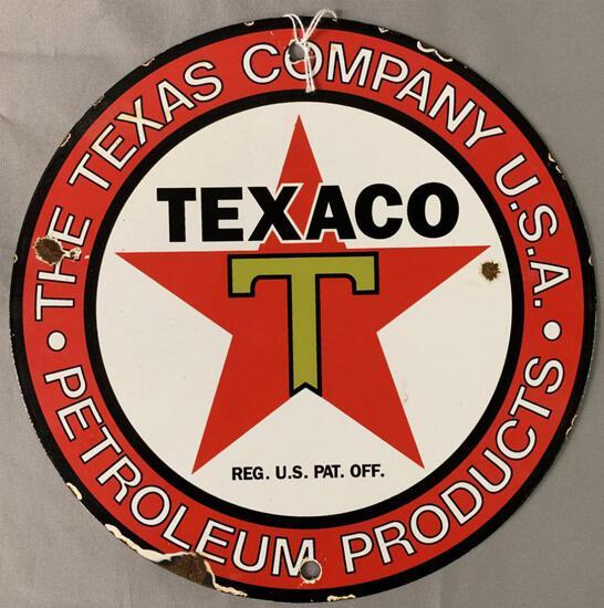 Texaco Gasoline Porcelain Advertising Sign