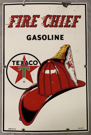 1962 Texaco Fire Chief Gas Pump Porcelain Sign