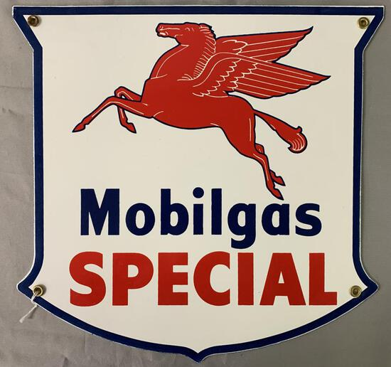 Mobilgas Special Pump Plate Advertising Sign