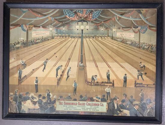 Rare 1900 Brunswick Balke Collender Bowling Litho