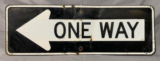 One Way Porcelain Street Sign