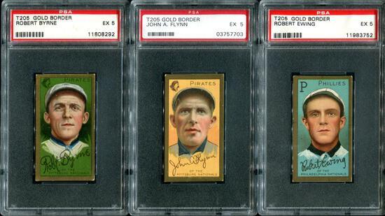 T-205 Lot of Three PSA Graded 5 Cards.