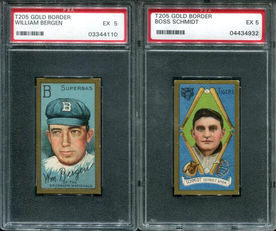 T-205 Lot of Two PSA Graded 5 Cards.