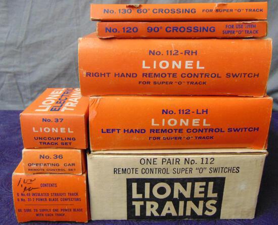 8 Boxed Lionel Super O Track Items