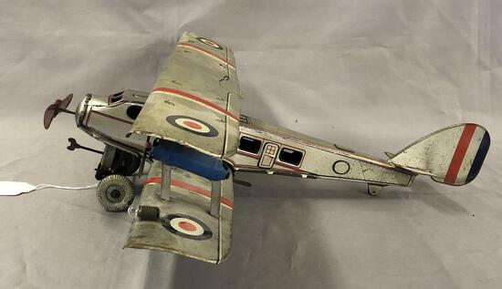 Rare Large Mettoy Imperial Airlines Bi Plane