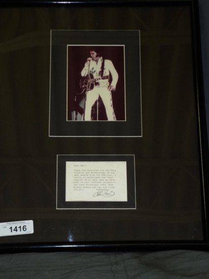 Elvis Presley Autographed Typed Note w/Photo