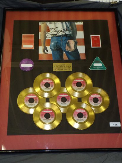 Autographed Bruce Springsteen Album Cover Award