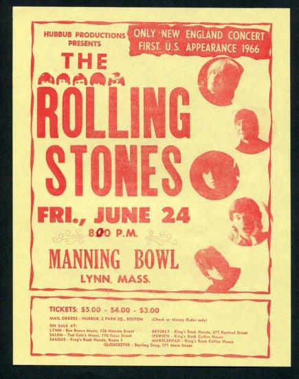 1966 Rolling Stones Boston Concert Handbill