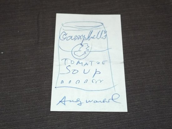 Andy Warhol. Pen and Ink Soup Can Signed.