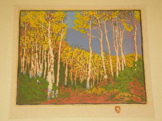 "Gustave Baumann Woodblock print, ""Aspen Red River"