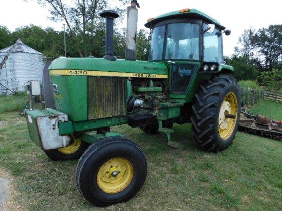 John Deere 4430 Tractor, Cab Heat/Air, Front Weights, Rear Wheel Weights, (