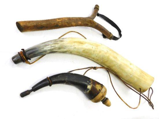 Decorative Powder Horn, Horn and Wooden Sling Shot