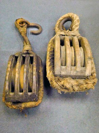 (2) Large Antique Nautical Rope Block Hoists