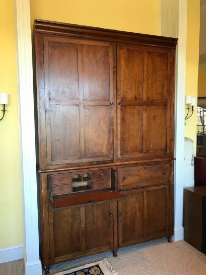 """Large Flat Wall Antique Cupboard, East TN Style, Cherry, Early 1800's, 105""""x68""""x14"""""""