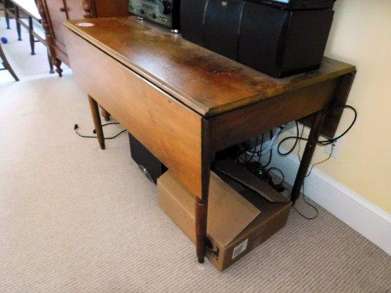 Circa 1800's Walnut Drop Leaf Table w/ Turned Legs