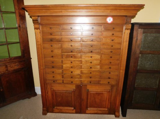 Large Solid Wood Antique Engineers Cabinet, 44 Small Drawers, 2-Cabinet Drawers w/ File Divider