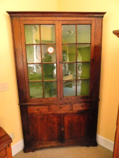 Antique Cherry Corner Cupboard, 16 Pane, 3-Drawer, TN Design, Circa 1840's