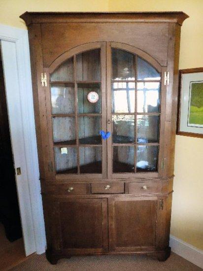 Antique Walnut Corner Cupboard, 16-Pane, Circa 1800's