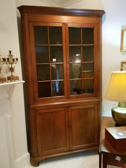 East TN Walnut 16-Pane Corner Cabinet