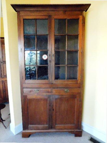 Walnut 16 Pane Corner Cupboard w/ Inlaid Escutcheons, Circa Early 1800's